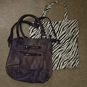 Linea Pelle purple leather tote